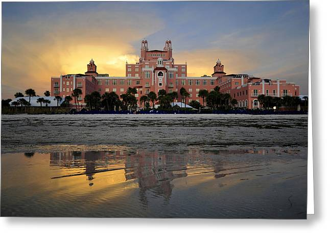 St Petersburg Greeting Cards - Don Cesar reflection Greeting Card by David Lee Thompson