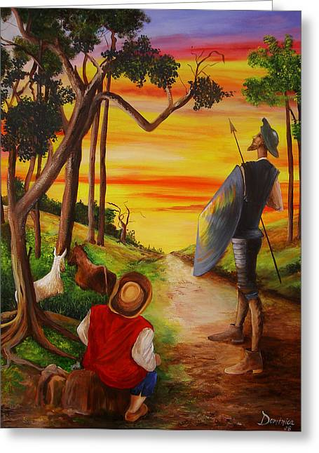 Dominica Alcantara Greeting Cards - Don Quixote and Sancho Greeting Card by Dominica Alcantara