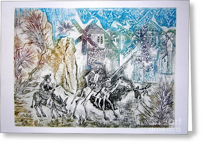 Drypoint Greeting Cards - Don Quixote and Sancho Panza Greeting Card by Milen Litchkov