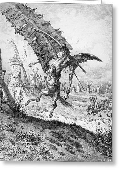 Don Quixote Greeting Cards - Don Quixote and the Windmills Greeting Card by Gustave Dore