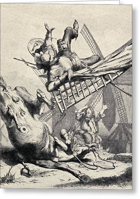 Sancho Panza Greeting Cards - Don Quixote Attacking The Windmills Greeting Card by Ken Welsh