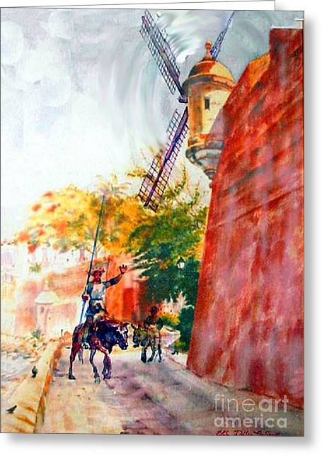 Caribbean Prints Tropical Town Print Greeting Cards - Don Quixote in San Juan Greeting Card by Estela Robles