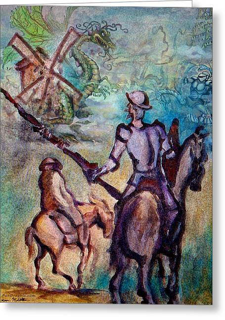 Don Quixote With Dragon Greeting Card by Kevin Middleton
