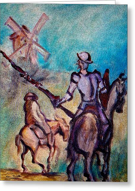 Don Quixote Greeting Cards - Don Quixote with Windmill Greeting Card by Kevin Middleton