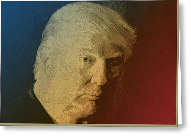 Donald Greeting Cards - Donald Trump Watercolor Portrait Greeting Card by Design Turnpike
