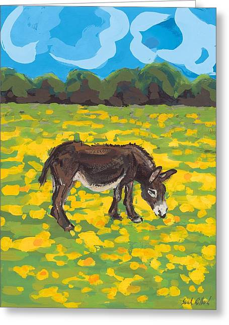 Donkey Greeting Cards - Donkey and Buttercup Field Greeting Card by Sarah Gillard