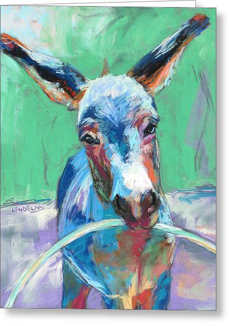 Playing Cards Pastels Greeting Cards - Donkey playing with hoop Greeting Card by Sandy  Lindblad