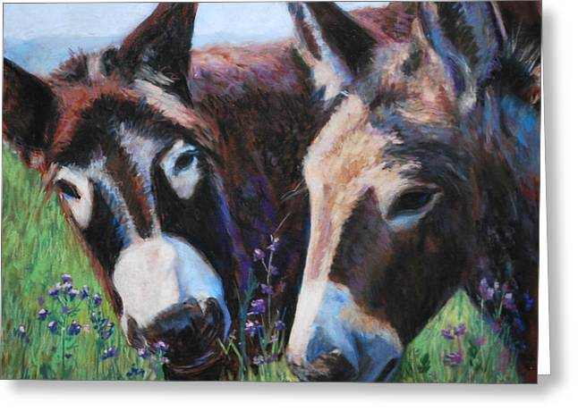 Farm Animals Pastels Greeting Cards - Donkey Tonk Greeting Card by Billie Colson