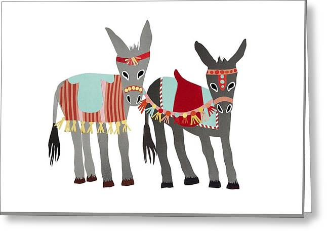 Donkeys Greeting Card by Isoebl Barber