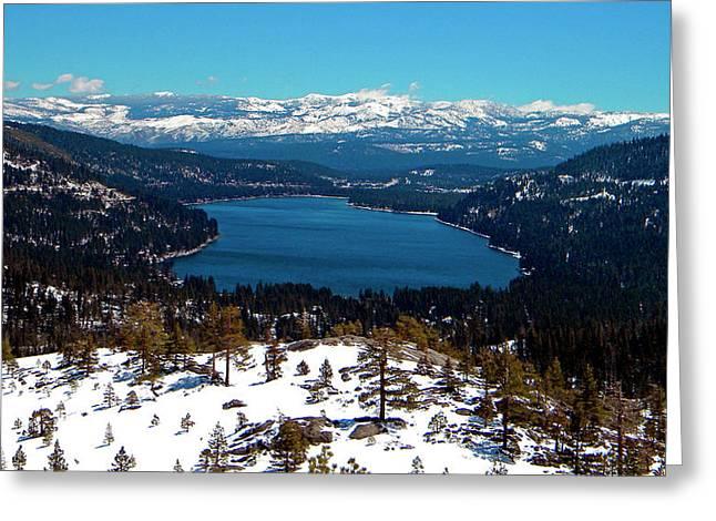 Frank Wilson Greeting Cards - Donner Lake Sierra Nevadas Greeting Card by Frank Wilson