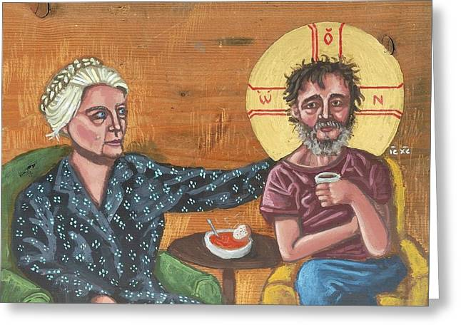 Don't Call Me A Saint- Dorothy Day With Homeless Christ Greeting Card by Kelly Latimore