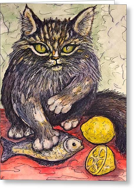Still Life With Fish Greeting Cards - Dont Touch My Lunch Greeting Card by Rae Chichilnitsky