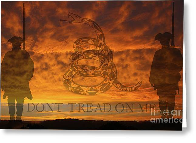 Don't Tread On Me Sunset Greeting Card by Randy Steele