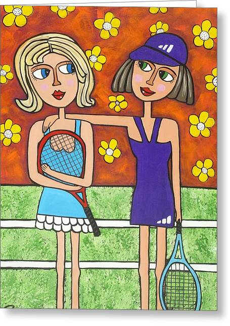 Tennis Player Paintings Greeting Cards - Dont worry we will get them next time Greeting Card by Elizabeth Langreiter