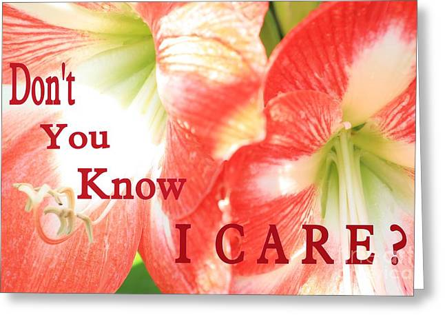 Don't You Know I Care? Greeting Card by Jean Clarke