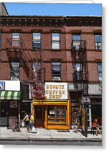 Park Scene Paintings Greeting Cards - Donut Shop Greeting Card by Ted Papoulas