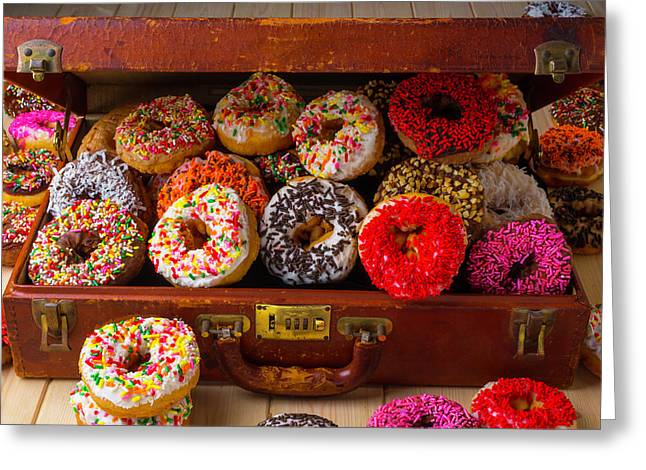 Donuts In Suitcase Greeting Card by Garry Gay