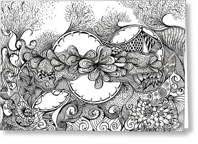Organic Drawings Greeting Cards - Doodlelicious Greeting Card by Ronda Breen