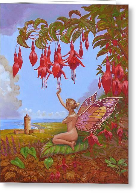 Fushia Paintings Greeting Cards - Doolin Fairy Greeting Card by Tomas OMaoldomhnaigh