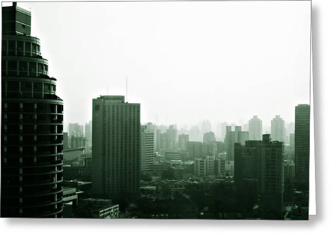 Apocalyptic Greeting Cards - Doomsday Shanghai Greeting Card by Christine Till