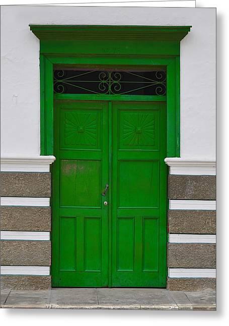 Entrance Door Pyrography Greeting Cards - Door # 1  Greeting Card by Axko Color de paraiso