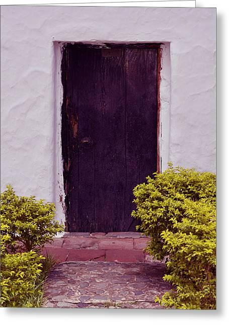 Entrance Door Pyrography Greeting Cards - Door # 13  Greeting Card by Axko Color de paraiso