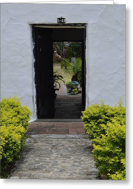 Entrance Door Pyrography Greeting Cards - Door # 14 Greeting Card by Axko Color de paraiso