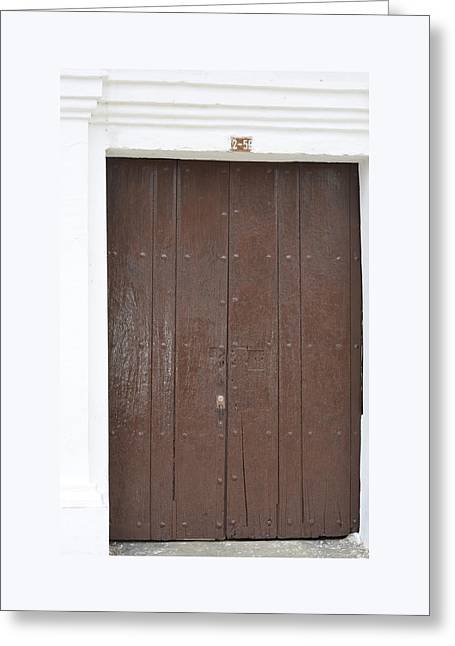 Entrance Door Pyrography Greeting Cards - Door # 3  Greeting Card by Axko Color de paraiso