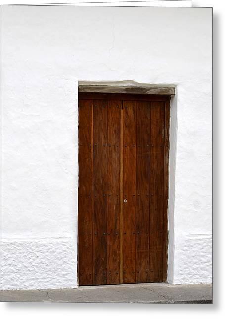 Entrance Door Pyrography Greeting Cards - Door # 7 Greeting Card by Axko Color de paraiso