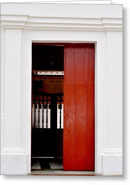 Wooden Building Pyrography Greeting Cards - Door # 8  Greeting Card by Axko Color de paraiso