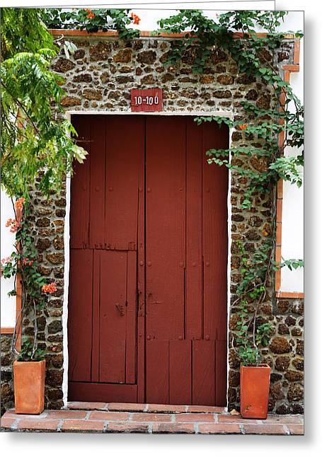 Entrance Door Pyrography Greeting Cards - Door # 9 Greeting Card by Axko Color de paraiso