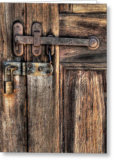 Go Away Greeting Cards - Door - The Latch Greeting Card by Mike Savad
