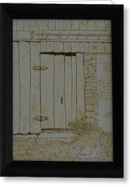 Old Door Pyrography Greeting Cards - Door at Historic Waterford Village in VA Greeting Card by H Leslie Simmons