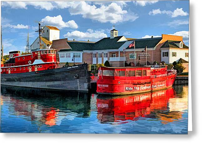 Tug Greeting Cards - Door County Maritime Museum Panorama Greeting Card by Christopher Arndt