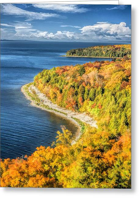 Wisconsin State Parks Greeting Cards - Door County Svens Bluff Scenic Overlook Greeting Card by Christopher Arndt