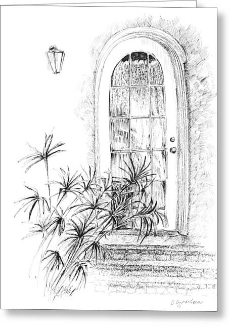 Pen And Ink Drawing Greeting Cards - Door Greeting Card by Crazy Cat Lady