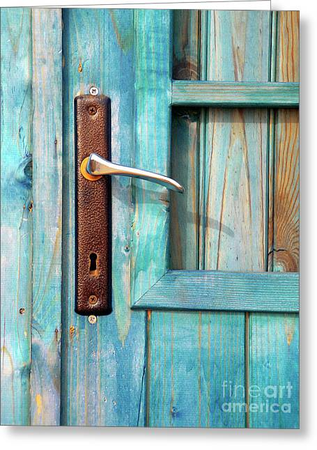 Sheds Greeting Cards - Door Handle Greeting Card by Carlos Caetano