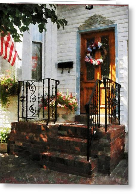 American Flags Greeting Cards - Door in Dappled Sunshine Greeting Card by Susan Savad