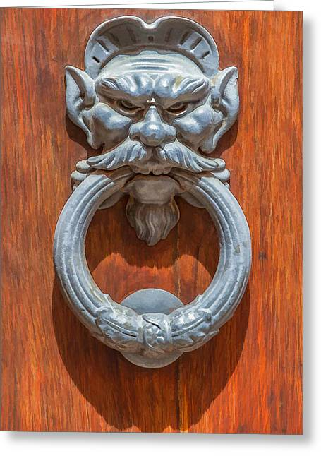 Kitchen Photos Paintings Greeting Cards - Door Knocker of Tuscany Greeting Card by David Letts