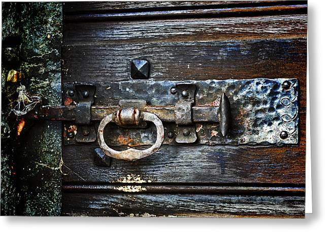 Wood Castle Greeting Cards - Door Latch Greeting Card by Joana Kruse