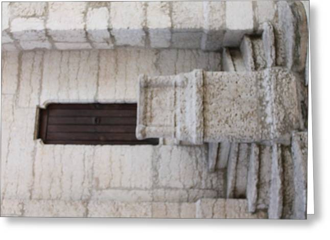 Stepping Stones Greeting Cards - Door outside chapel Greeting Card by Theresa Lamothe
