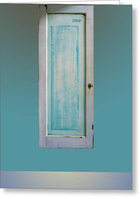 Old Door Over Ocean Greeting Card by Asha Carolyn Young and Daniel Furon
