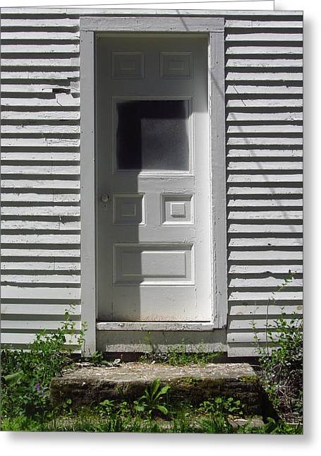 Old Maine Houses Greeting Cards - Door Shadow Greeting Card by Bill Tomsa