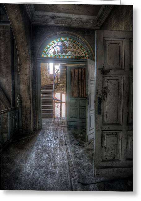 Ghostly Greeting Cards - Door to stairs Greeting Card by Nathan Wright