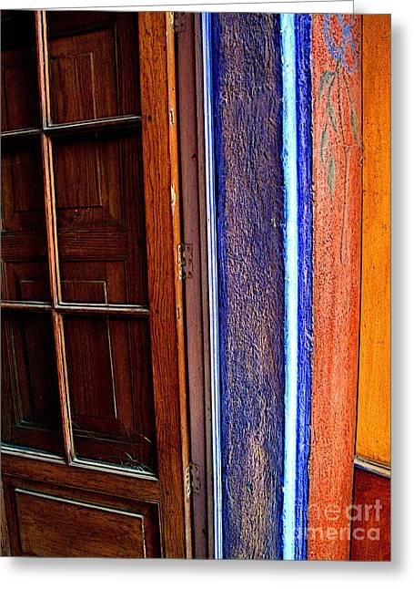 Guadalajara Greeting Cards - Door with Blue Greeting Card by Olden Mexico