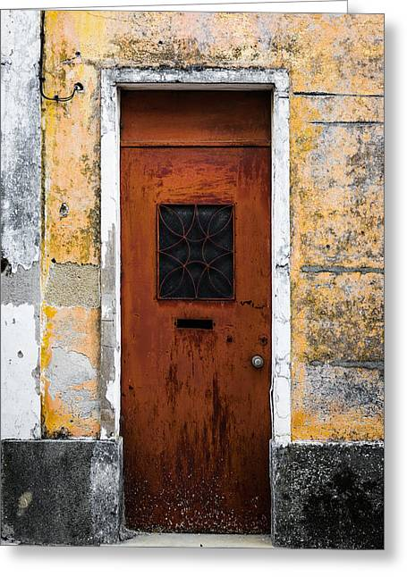 Entrance Door Greeting Cards - Door With No Number Greeting Card by Marco Oliveira