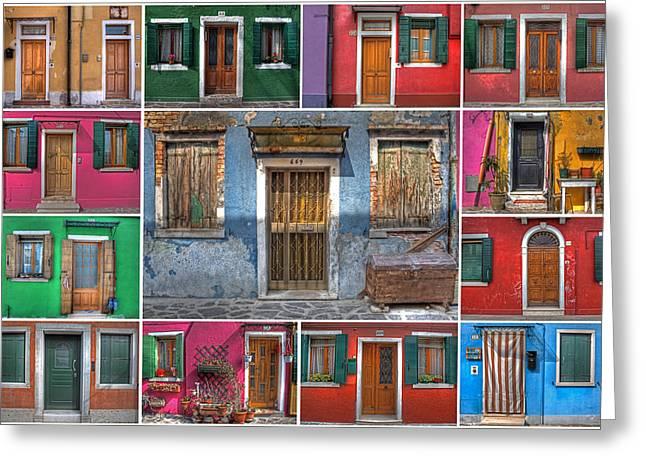 Venice Travel Greeting Cards - doors and windows of Burano - Venice Greeting Card by Joana Kruse