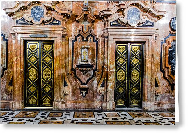 Retablos Greeting Cards - Doors - Cathedral of Seville - Seville Spain Greeting Card by Jon Berghoff