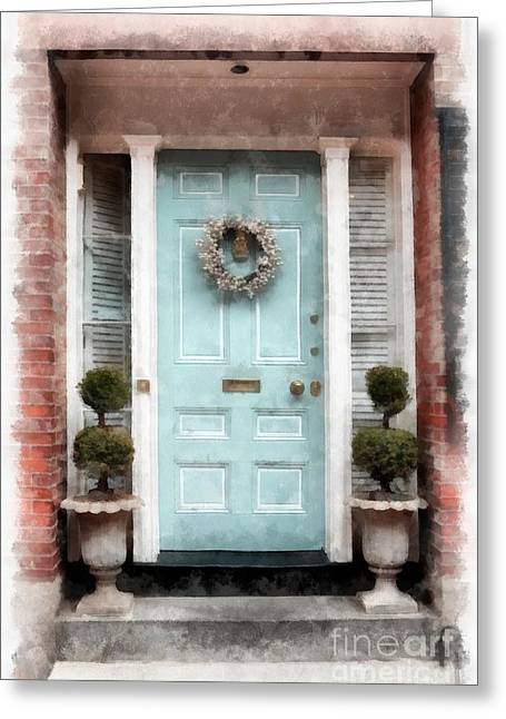 Boston Ma Greeting Cards - Doors of Boston Blue Greeting Card by Edward Fielding