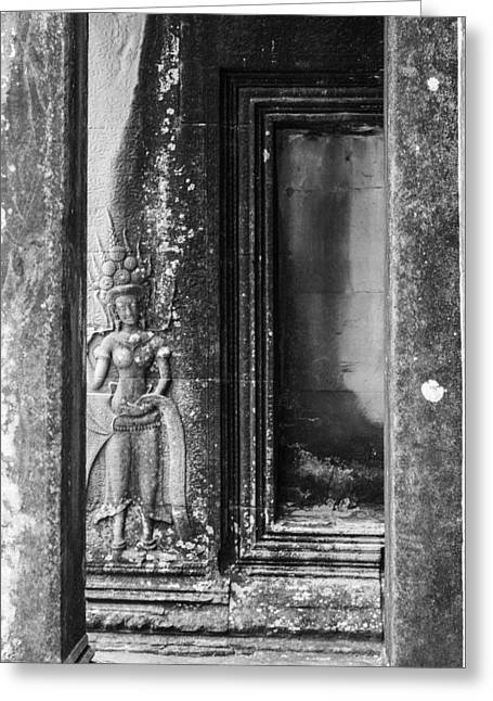 Hindu Goddess Greeting Cards - Doorway Carvings at Angkor Greeting Card by Georgia Fowler